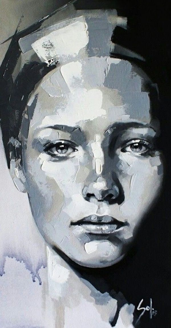 45 Beautiful Acrylic Portrait Paintings Ideas
