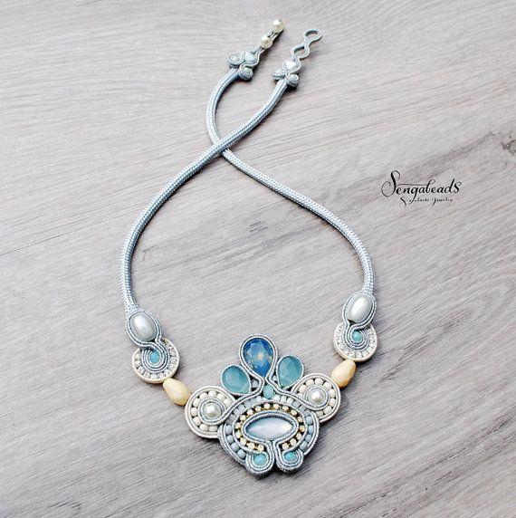 Soutache necklace in silver gray pacific opal blue by Sengabeads