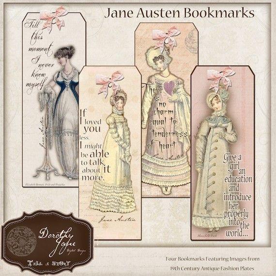Jane Austen Quotes Bookmarks, Book Club Favor, Pride and Prejudice Pemberley…