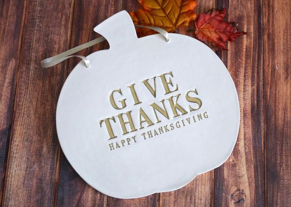 Give Thanks  Happy Thanksgiving Sign  Hang on Door by Susabellas, $34.95