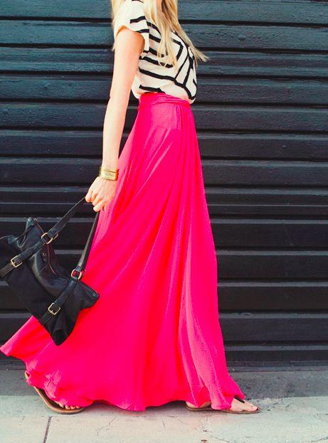 graphic T + bright maxi skirt