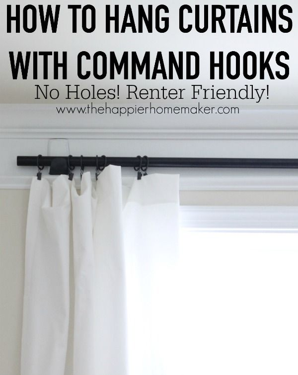 How to hang curtains with command hooks...No Holes, Renter Friendly Window Treatments!