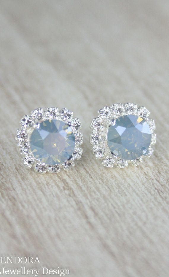 Dusty blue crystal earrings | dusty blue | powder blue wedding | http://www.endorajewellery.etsy.com