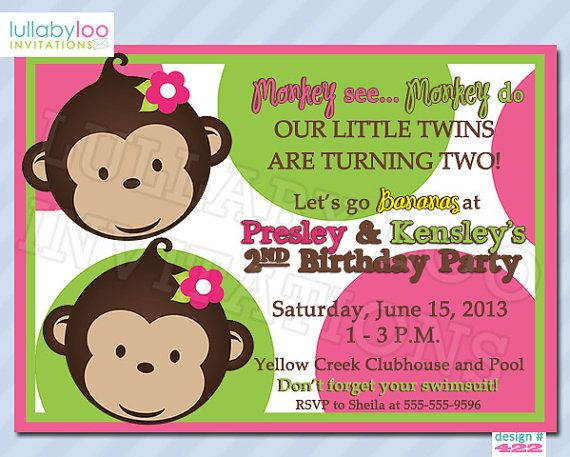 65 best twins 2nd bday party monkeys images on pinterest gemini girls monkey birthday invitations twins by lullabyloo on etsy 1800 twins birthday filmwisefo Choice Image