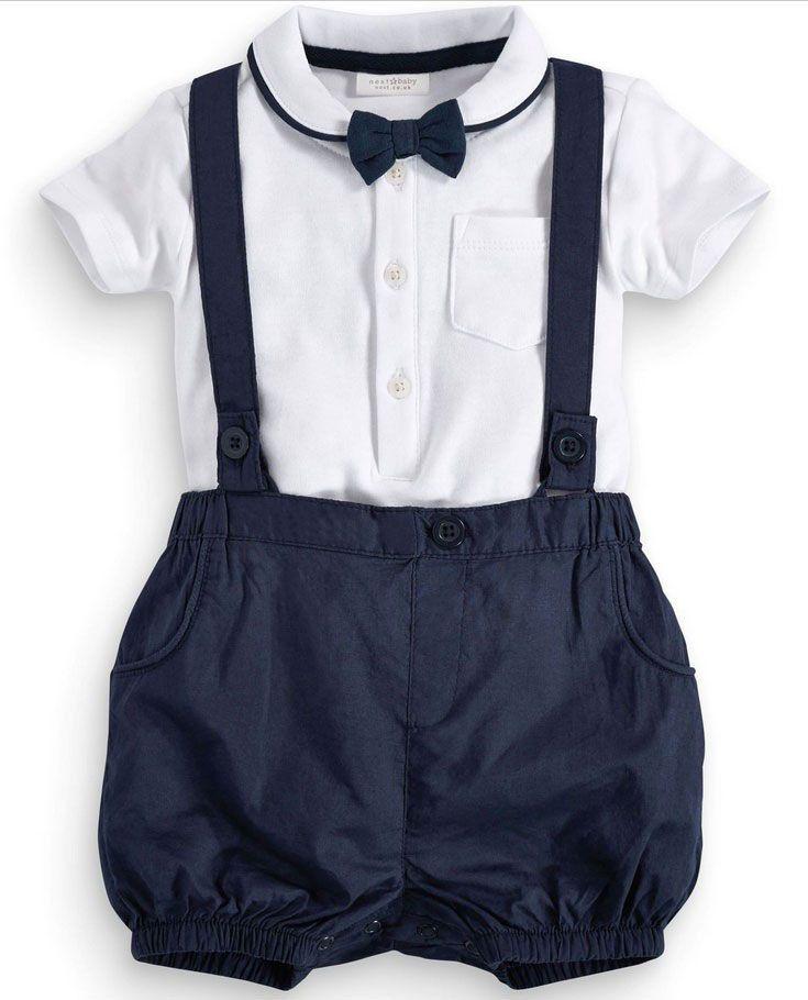 Tienda Online Ropa del bebé del verano del algodón 2 unids juego muchacho  Caballero suspender regalo Sets para recién nacidos bautizo Trajes para  Niños ... 47cd7a45e2db