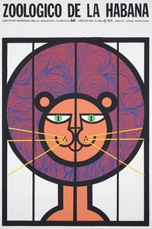 1974 Original Cuban Zoo Poster Lion, Hernandez #graphicdesign