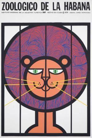 1974 Original Cuban Zoo Poster Lion, Hernandez #graphicdesign
