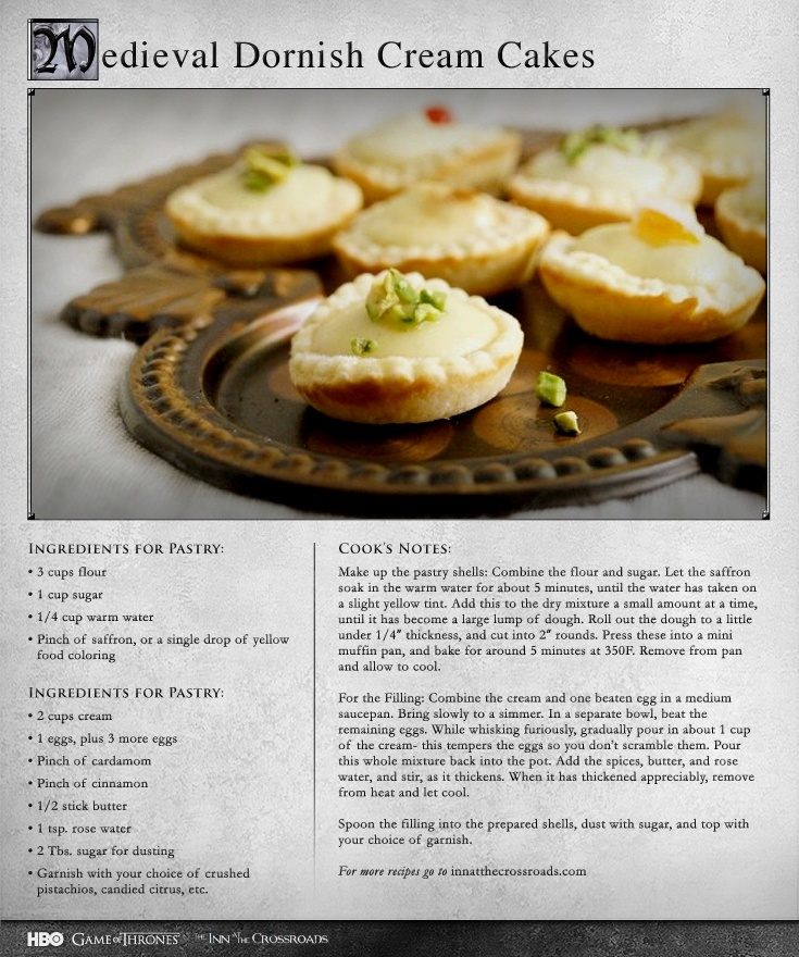 28 best game of thrones recipes images on pinterest medieval medieval dornish cream cakes game of thrones recipes forumfinder Image collections