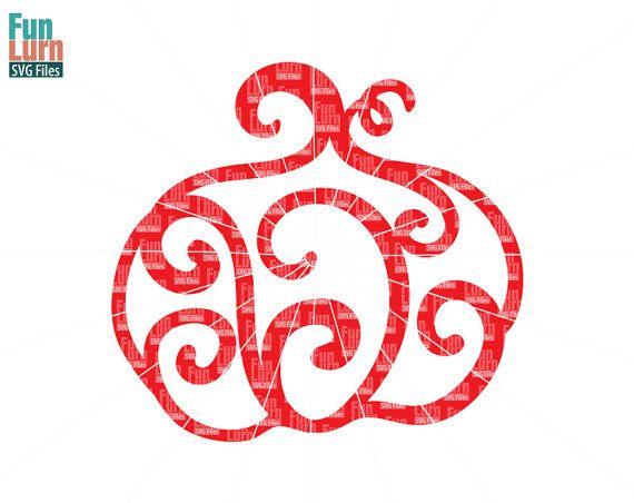 Halloween SVG Simple swirly Pumpkin SVG Doodle  by FunLurnSVG