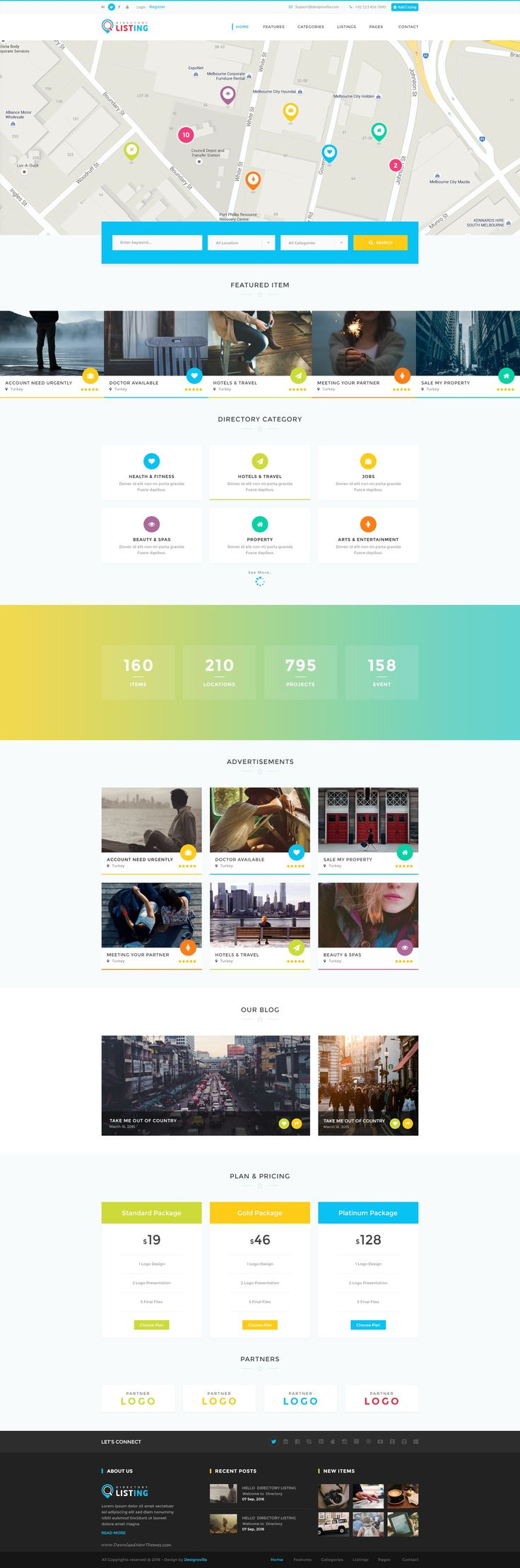 Listing 16 in 1 modern and creative design PSD Template for Directory Website #webdesign #startup #psdtheme