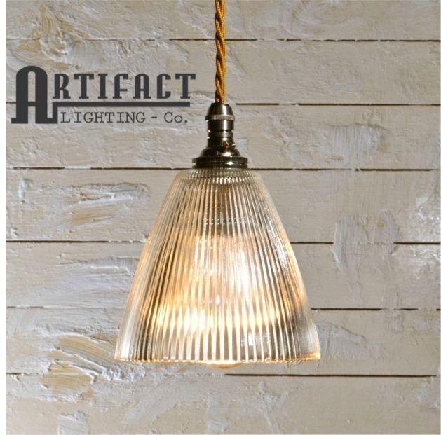 details about prismatic glass shade pendant light vintage industrial modern holophane style. Black Bedroom Furniture Sets. Home Design Ideas