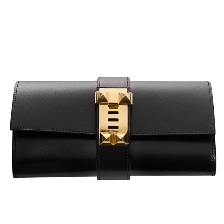 Hermes Medor Clutch Box Bag in Black with Gold Hardware #hermes
