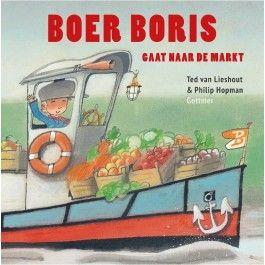 Boek, Boer Boris gaat naar de markt Boer Boris wil naar de markt om zijn producten te verkopen. Maïs, pudding, kaas, brood, aardappels en groenten. Hij wil er vanaf! Maar hoe moet hij op de markt komen? De verkeerssituatie is erg onduidelijk en geen enkel voertuig lijkt toegestaan. Fietsen, auto's en ook raketten zijn verboden. Zal Boris zijn weg naar de markt kunnen vinden?  'Boer Boris gaat naar zee' is het vijfde prentenboek in de succesvolle reeks van Ted van Lieshout en Philip Hopman…