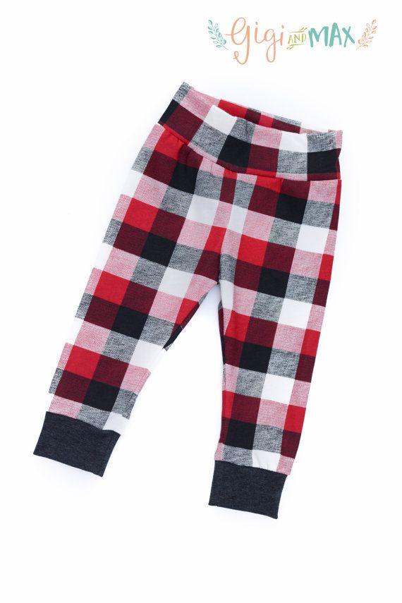 Baby Leggings Buffalo Plaid Boy or Girl, Baby Leggings, Baby Pants, Toddler Leggings