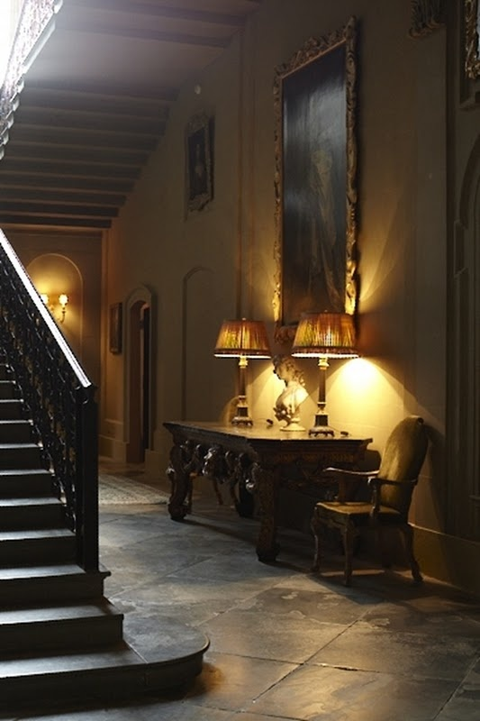 Gorgeous stairs and entry.: Decor, Lamps Lights, Interiors Design, Entrance Hall, Design Rooms, Grand Stairways, Country Houses Interiors, Entry Hall, Stones Floors