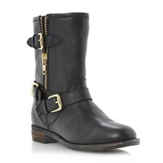 DUNE LADIES ROBBIN - Side Zip and Buckle Trim Biker Boot - black   Dune Shoes Online
