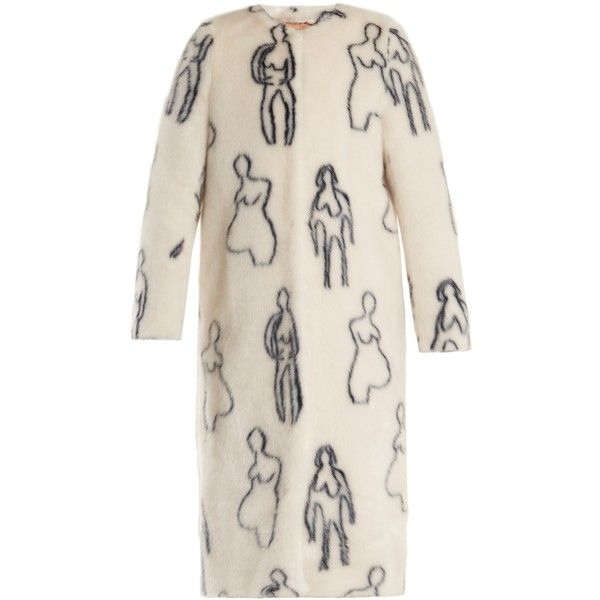 Shrimps Callum Nude Doodles-print faux-fur coat ($671) ❤ liked on Polyvore featuring outerwear, coats, cream navy, cream faux fur coat, collarless coat, pink faux fur coat, imitation fur coats and navy blue slip