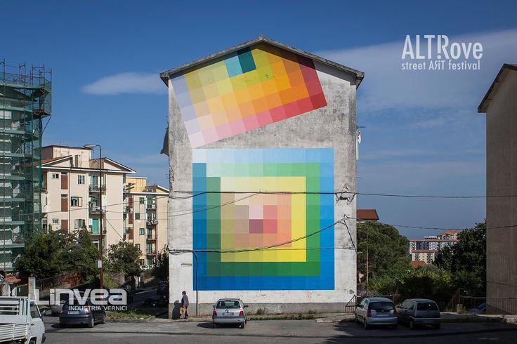 """#Alberonero ALTrove - Street Art Festival  """"Il tratto spontaneo e l'utilizzo di eleganti scale di colore riescono a movimentare una composizione apparentemente rigida e statica"""" - ph. Angelo Jaroszuk Bogasz"""