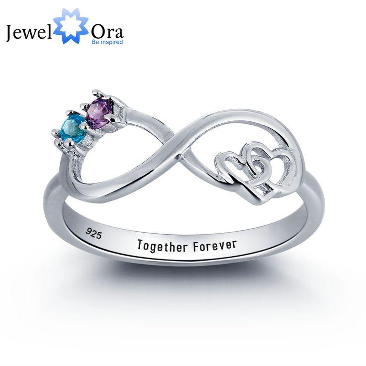 Personalizada infinito amor promise ring pareja piedra plata de ley 925 cubic zirconia anillo caja de regalo (jewelora ri101783)