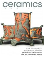 Ceramics Monthly's March 2011 cover, featuring Nick Joerling's Compound pocket vase, 12 in. (30 cm) in height, thrown and altered stoneware with resist glaze decoration.
