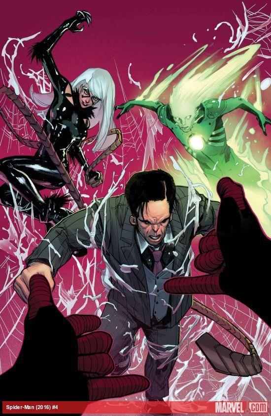 Spider-Man (2016) #4Miles es sólo encontrar sus pies en el nuevo universo Marvel; los medios de comunicación está creciendo obsesionado con su color de piel y ahora tiene que compartir su propio libro con un nuevo mutante caliente que va por el nombre de ... esperar a que ...  • Todo esto y la queenpin de Nueva York, el Gato Negro, ha puesto sus ojos en este nuevo Spider-Man. Ella ha puesto a cabo un golpe en la cabeza y ahora nadie está a salvo!