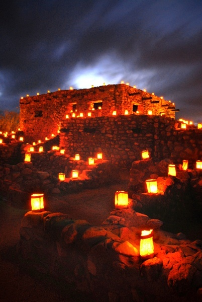 LUMINARIAS in Christmas - the southwest is a beautiful time. As many areas have mild evening temperatures, outdoor celebrations have become holiday traditions. Lighting the way to a festive time in the southwest are Luminarias or Farolitos. Simply put, these are candles carefully placed in sand inside a bag, providing a warm glow at night.