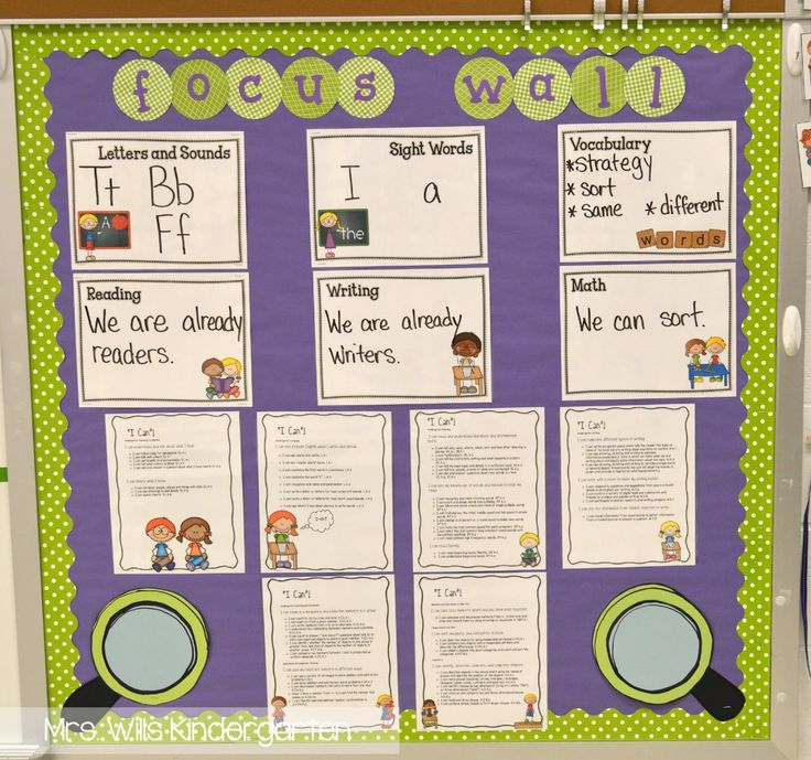 Focus Wall in Kindergarten - I like that these are laminated. It makes the focus wall seem like less work for me!