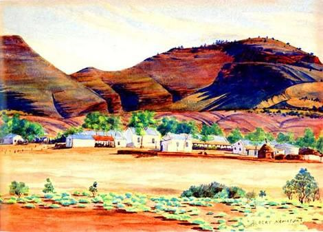 This detail from a rare early work by Albert Namatjira portrays the Hermannsburg Mission (1936/7)      There was a mutually supportive relationship between Namatjira, & the Whitefella, Rex Battarbee who taught him to paint. The friendship lasted a lifetime, & it had a profound effect on both. Ultimately, Rankin's script asks us to wonder what it was these to men sought out (and found) in each other: beyond being painting buddies.