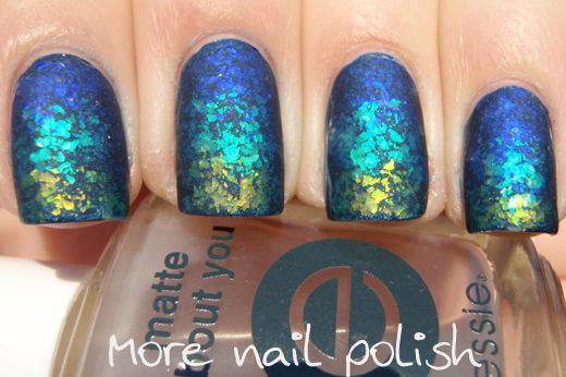 Matte flakies gradient ~ More Nail Polish
