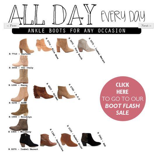 Editor's Pick: The Ankle Boot. Read more in The Magazine > http://www.diligo.co.za/magazine/2013/04/24/editors-pick-the-ankle-boot/