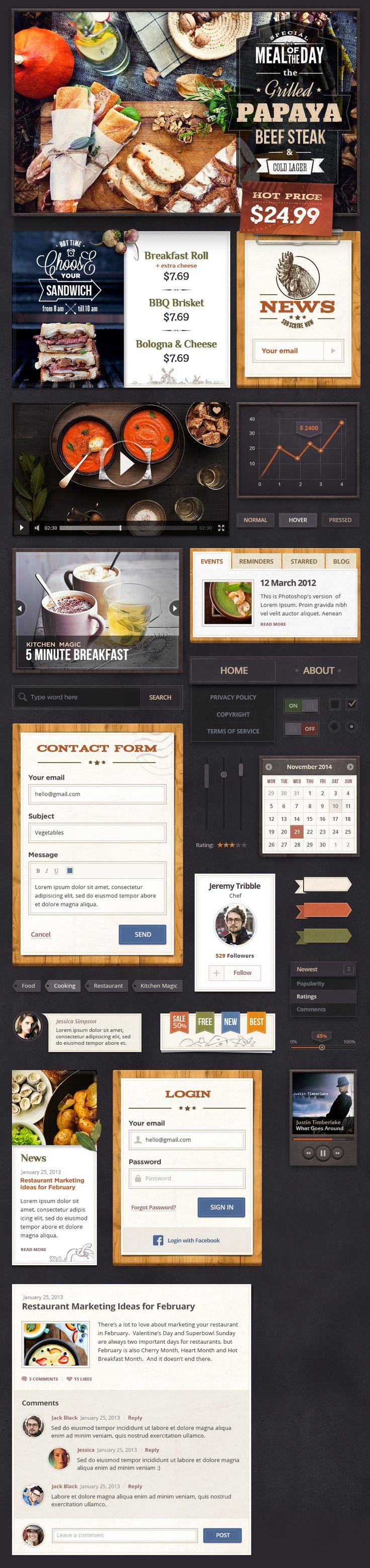 Spicy Treats UI Kit #psd #graphics