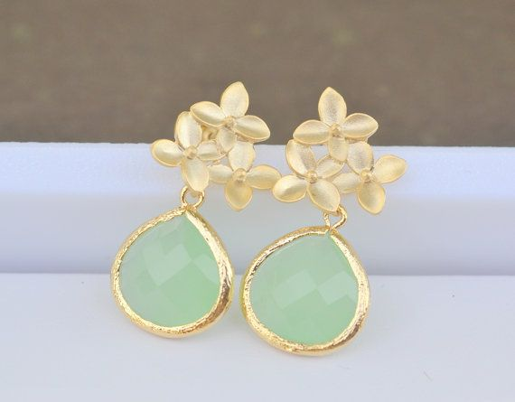Mint Teardrop and Gold Cherry Blossom Flower Post by RusticGem, $32.00