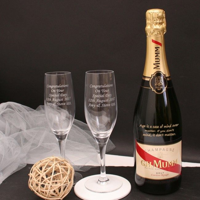 Engraved Dom Perignon Champagne Gift Set With Personalised Flutes Giftsonline4u