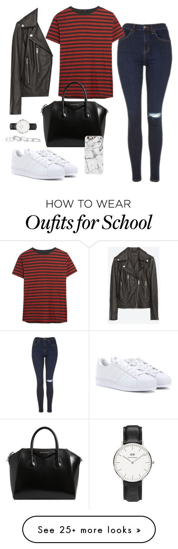 """""""Adidas superstar - 7 #School"""" by inlovewithtay on Polyvore featuring Zara, Topshop, R13, Daniel Wellington, Givenchy, adidas, Casetify, Kendra Scott, BackToSchool and superstar"""