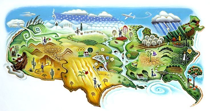Gardening for a changing climate. Map illustration handpainted by Tim Zeltner. Represented by i2i Art Inc. #i2iart
