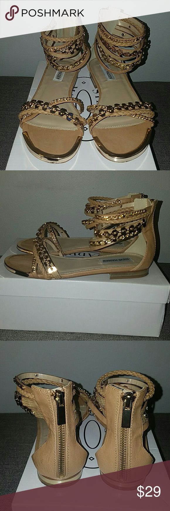 Steven Madden Sandals Nude with gold hardware, zip up, small heel, (WORN, VERY GOOD CONDITION) Steve Madden Shoes Sandals