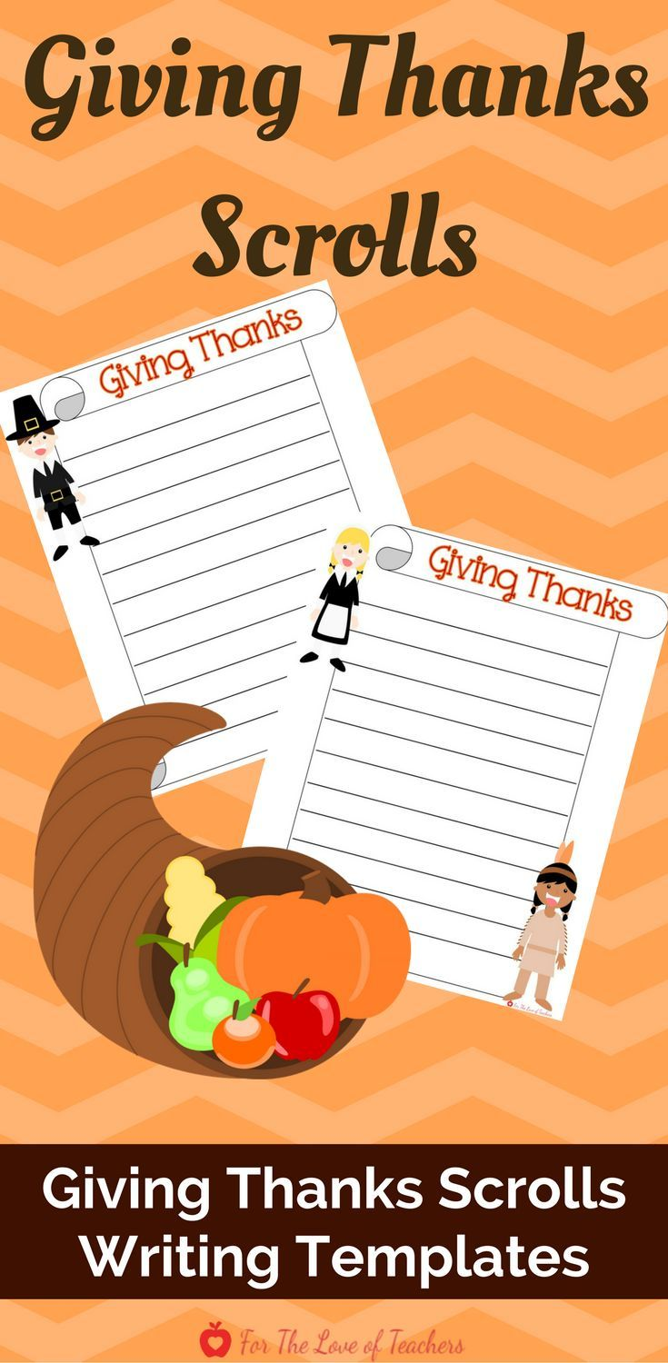 In today's world with technology overload and jam packed schedules, it's so easy to lose sight of what's truly important. Teaching kids to give thanks for a special person or thing in their life is really important as we mold children into grateful individuals. Use these scrolls to create a cute bulletin board display about who or what your students are most thankful for. Get it at For The Love of Teachers Shop.