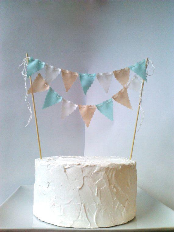 Cake bunting Wedding Cake topper Birthday Party Champagne, Ivory, Aqua. $20.00, via Etsy.