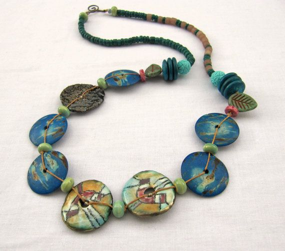 Out of the earth - Handmade Beaded Necklace, Art Bead Necklace, Blue Necklace