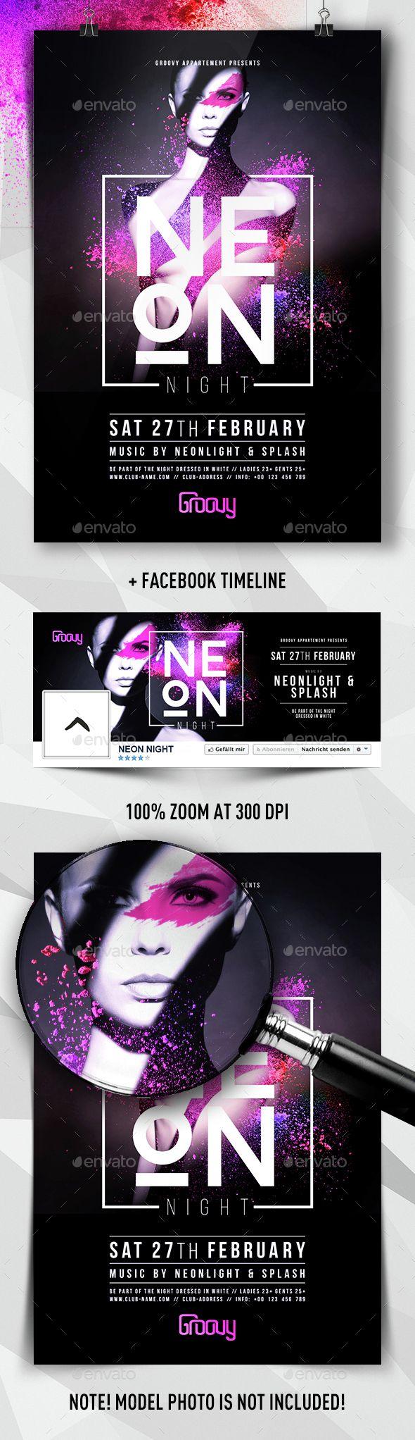 Neon Night Flyer Template PSD. Download here: http://graphicriver.net/item/neon-night-flyer/14679590?ref=ksioks
