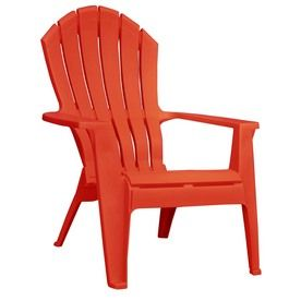 Adams Mfg Corp Ergo Red Adirondack Chair --- we do quite like our (green plastic) adirondack chairs and bench, and may very well buy more some day. The chairs stack, which is nice. This color doesn't look like a great red, but there were limited color options on the Lowes site!