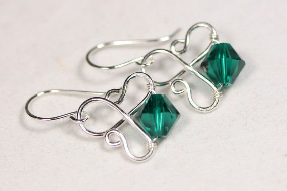 Emerald Earrings Wire Wrapped Jewelry by JessicaLuuJewelry on Etsy, $30.00