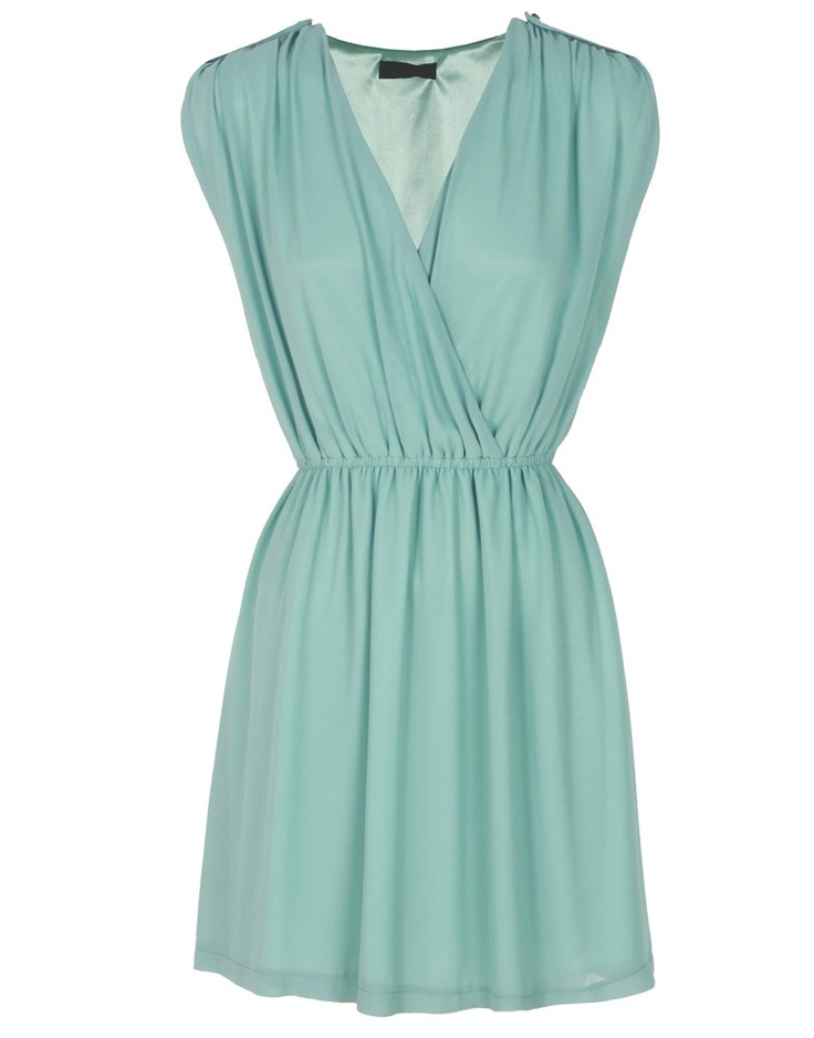 Mint Green Surplice V-Neck Chiffon Dress