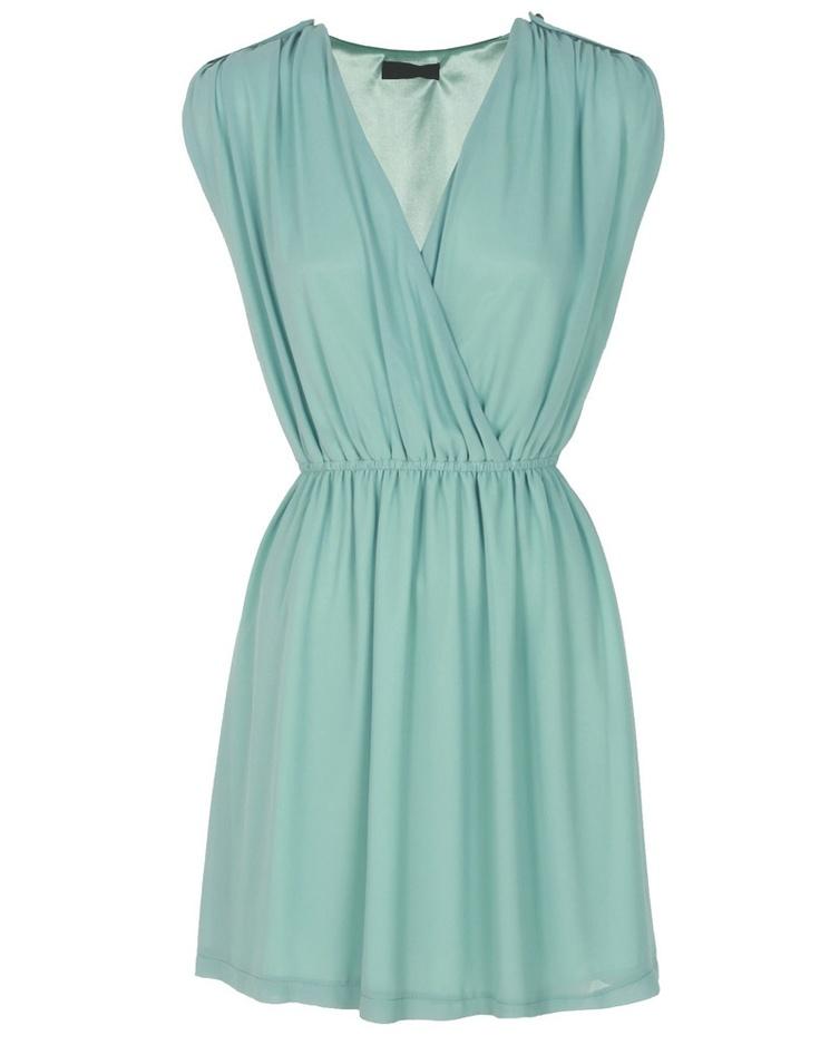 Mint Green Surplice V-Neck Chiffon Dress