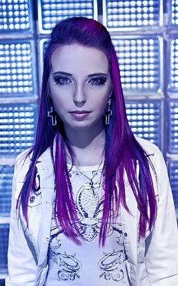 Markéta Morávková, singer of Alia Tempora.  #purple #pink #magenta #blue #alternative #hair #hairstyle #white #rock #punk #metal #dress #futuristic #alien #electro #symphonic #singer #band