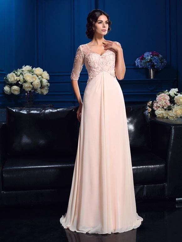 bc1d8c99429e Brautmutterkleider Sweep Pinsel zug A-Linie Princess-Linie V-Ausschnitt  Perlen verziert 1 2 Ärmel Lange Chiffon OM153