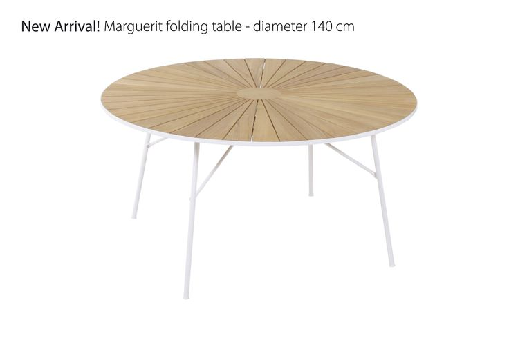 Marguerit table. Burma teak and aluminium frame. Diameter 140 cm.  Visit www.mandalay.dk