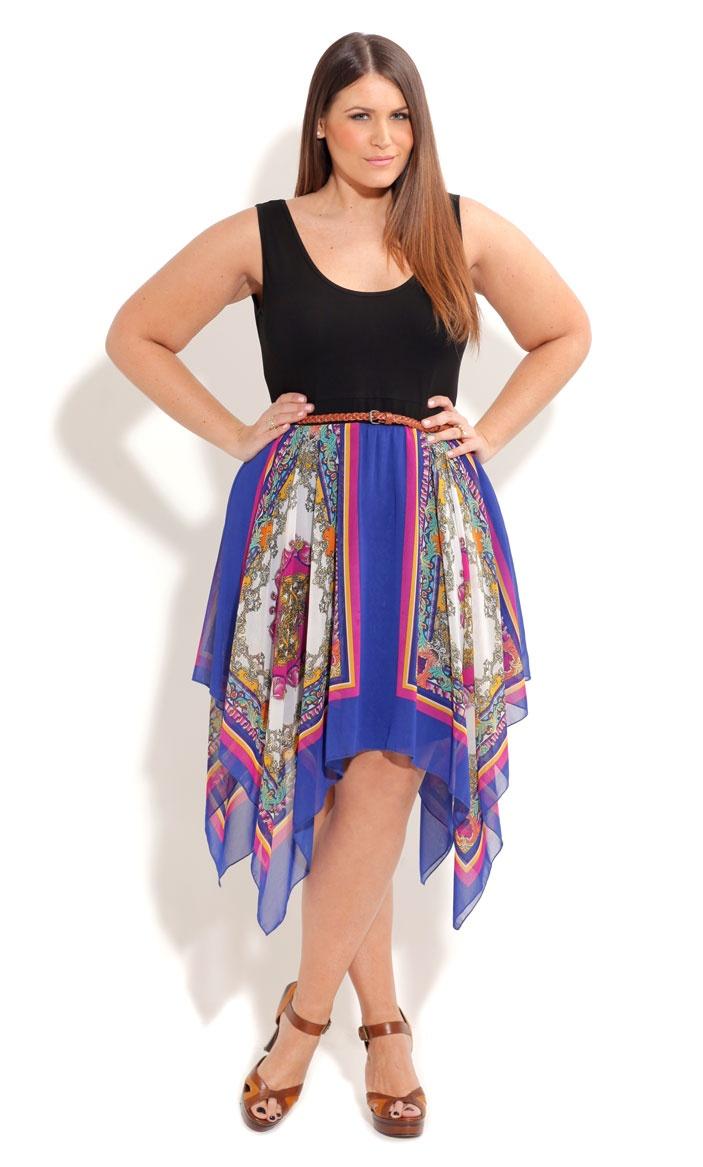 City Chic So Cute Scarf Dress- Womens Plus Size Fashion -4925