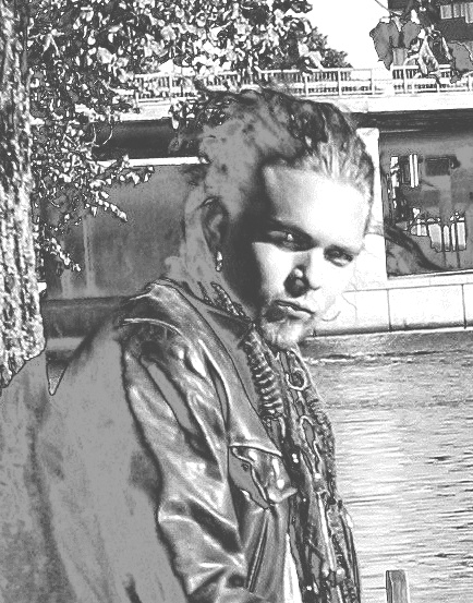 """black and white photo alteration of Hannu's recent publicity photo for release of the soundtrack single """"Conquerors of the World"""""""