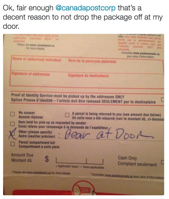 When Canada Post had a reasonable excuse.